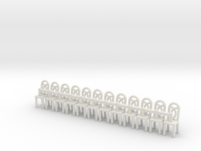 Cafe Chair 1  HO Scale X12 in White Strong & Flexible