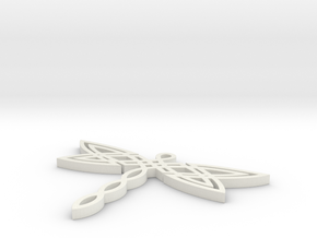 Celtic Dragonfly Pendant in White Natural Versatile Plastic