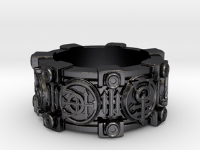 Alchemical Sigil Ring (US Size 6) in Polished and Bronzed Black Steel