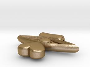 Heart Drop From Eye Pendant in Polished Gold Steel