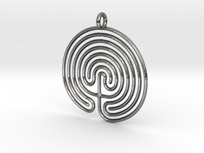 Labyrinth Pendant in Premium Silver