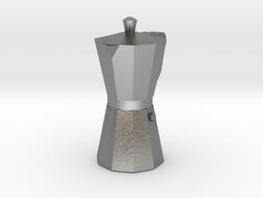 Italian Coffee maker pendant in Natural Silver