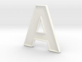 A, Typeface in White Processed Versatile Plastic
