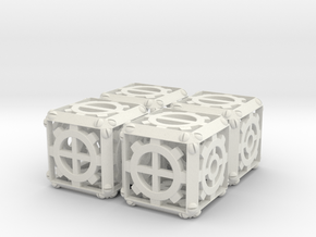 Steampunk d6 Fudge 4d6 Set in White Natural Versatile Plastic