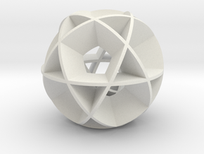 Icosidodecahedron (wide) in White Natural Versatile Plastic