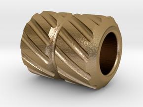 Gearhead Zipper Pull v03 in Polished Gold Steel