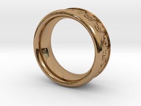 Skull Ring 9 in Polished Brass