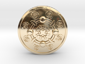 Iron Banded Shield in 14K Yellow Gold