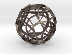 Rhombicosidodecahedron (narrow) in Polished Bronzed Silver Steel