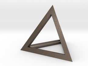 Triangle Pendant - thick in Polished Bronzed Silver Steel
