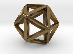 Icosahedral Pendant  28mm in Natural Bronze