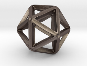 Icosahedral Pendant  28mm in Polished Bronzed Silver Steel