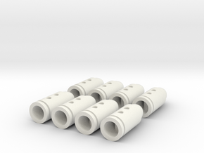 Rifle Bullet Buttons #2 in White Natural Versatile Plastic