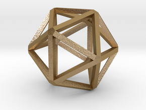Icosahedron Thinner 25mm in Polished Gold Steel