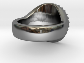Gear Anti-Signet Ring in Premium Silver