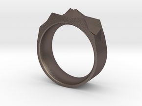 Triangulated Ring - 16mm in Polished Bronzed Silver Steel