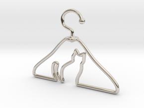 Cat Hanger Pendant in Platinum
