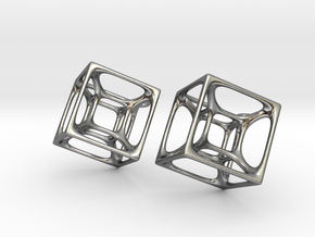 Hypercube Earrings in Polished Silver