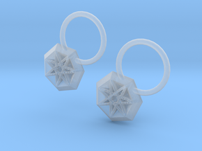 Star Earrings in Smooth Fine Detail Plastic