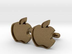 Apple Cufflink in Natural Bronze