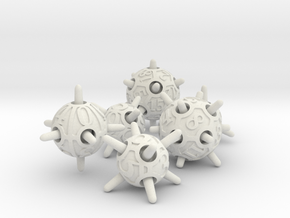 Sputnik Dice Set in White Natural Versatile Plastic