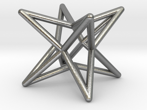 Octahedron Star Earring in Natural Silver