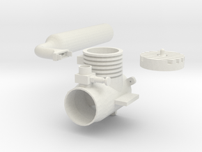 180 Dummy Engine  W Header Pipe in White Natural Versatile Plastic