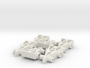 6 F1 Car Game Pieces in White Natural Versatile Plastic