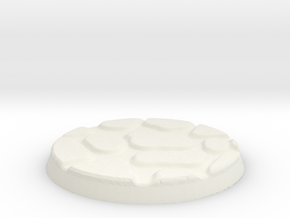 25mm Figure Base Large Cobble in White Natural Versatile Plastic