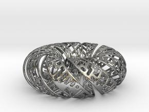 Spiral Gylph Torus in Polished Silver