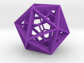 Polyhedral Sculpture #26 - Pendant in Purple Processed Versatile Plastic