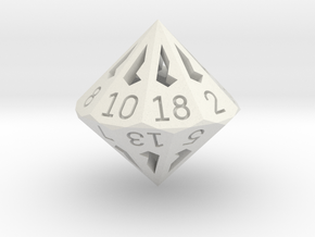 18 Sided Die - Regular in White Natural Versatile Plastic