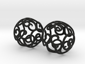 Filigree Sphere EARRINGS  in Black Strong & Flexible
