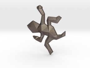 Escher Low Poly Lizard Pendant in Polished Bronzed Silver Steel