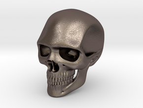 Realistic Human Skull (40mm H) in Polished Bronzed Silver Steel