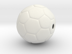 Soccer Ball Bead in White Natural Versatile Plastic