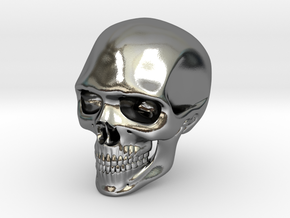 Realistic Human Skull (40mm H) in Polished Silver