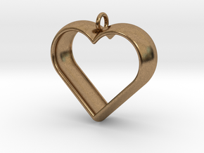 Stylized Heart Pendant in Natural Brass