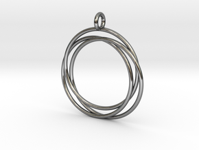 Interlaced Circles in Fine Detail Polished Silver