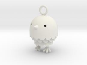 """""""Peep"""" Bird Pendant in White Strong & Flexible"""