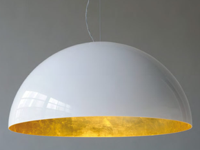 1:12 Lampshade hanging 3cm diameter in White Strong & Flexible Polished