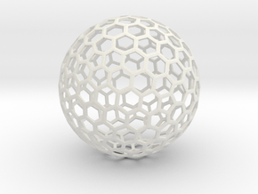 honeycomb sphere - 60 mm in White Strong & Flexible