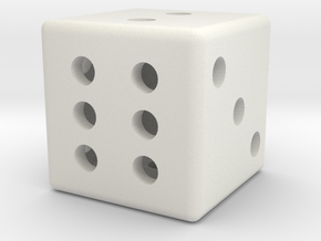 Hollow dice in White Natural Versatile Plastic