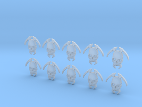 10 18mm Tall Skull Scythe Icons in Smooth Fine Detail Plastic
