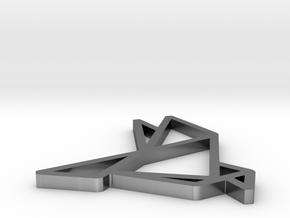 Pendant Origami Dove in Polished Silver