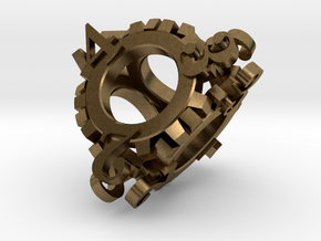 Steampunk Gear d4 in Natural Bronze