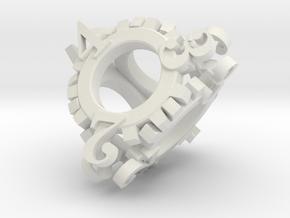 Steampunk Gear d4 in White Natural Versatile Plastic