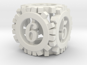 Steampunk Gear d6 in White Strong & Flexible