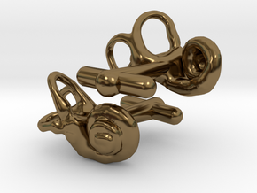 Inner Ear Cufflinks (Pair) in Polished Bronze