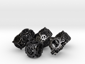 Steampunk Gear Dice Set in Polished Grey Steel